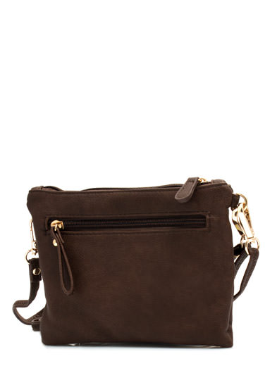 Double Zippered Faux Leather Wristlet BROWN