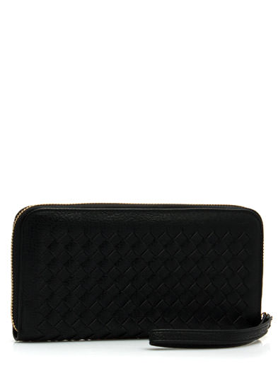 Crosshatched Faux Leather Wallet BLACK