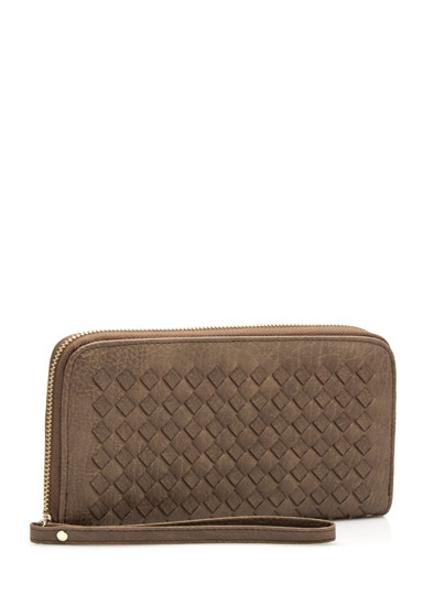 Crosshatched Faux Leather Wallet TAUPE