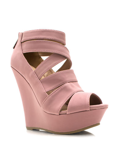Strappy Faux Nubuck Wedges ROSE