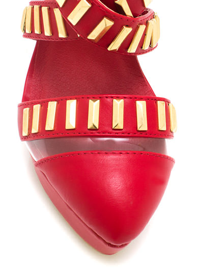 Strappy Metal Mania Heels RED