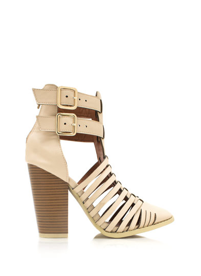 Strappy Double Buckle Booties BEIGE