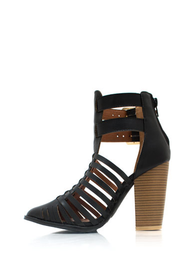 Strappy Double Buckle Booties BLACK