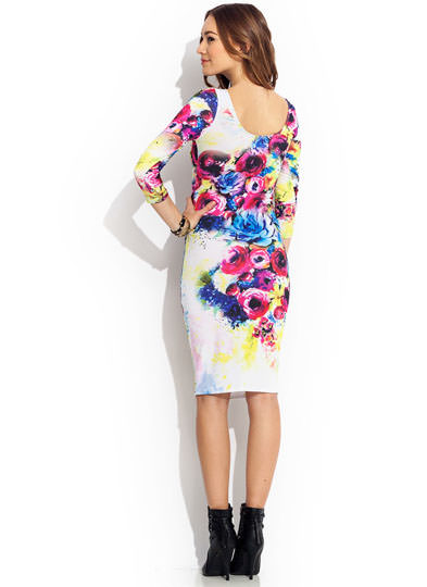 Special Delivery Floral Midi Dress FUCHSIAWHT