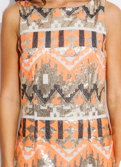 Multi Print Sequin Tank Dress PEACHGOLD