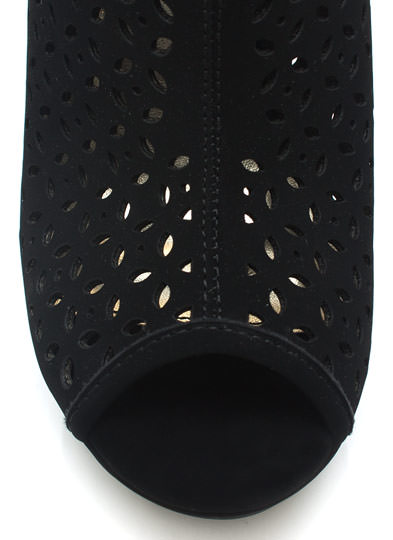 Petal Perforated Wedge Booties BLACK