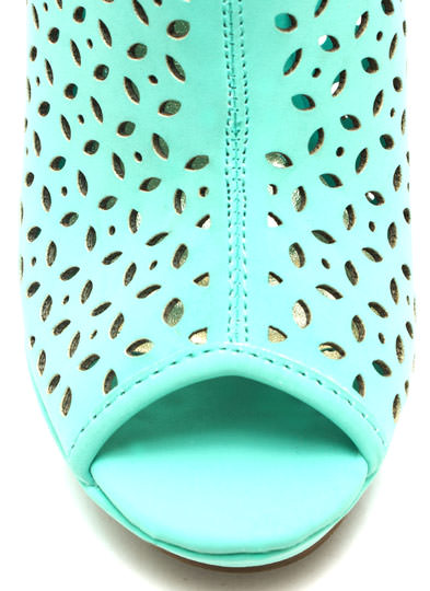Petal Perforated Wedge Booties MINT