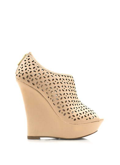 Petal Perforated Wedge Booties NUDE