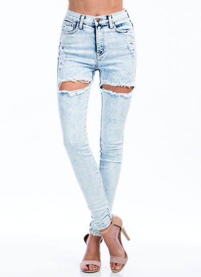 Thigh-High Cut-Out Distressed Jeans LTBLUE