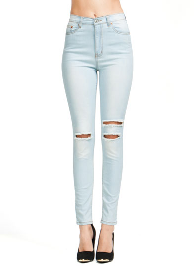 Slashed High-Waisted Jeans LTBLUE