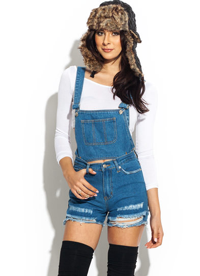 Destroyed 2 in 1 Overalls BLUE
