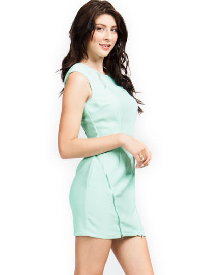 Double Zippered Cap Sleeve Dress MINT