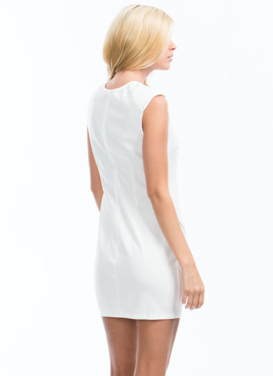 Double Zippered Cap Sleeve Dress OFFWHITE