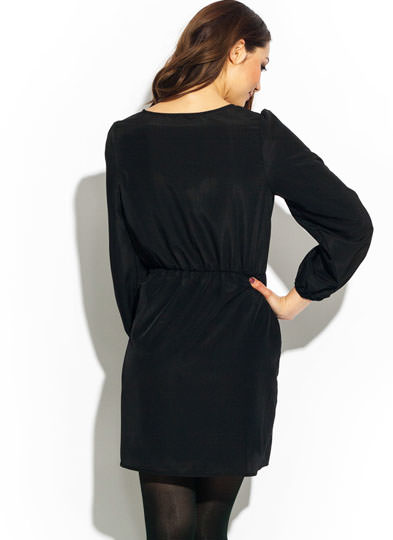Silky Surplice Dress BLACK