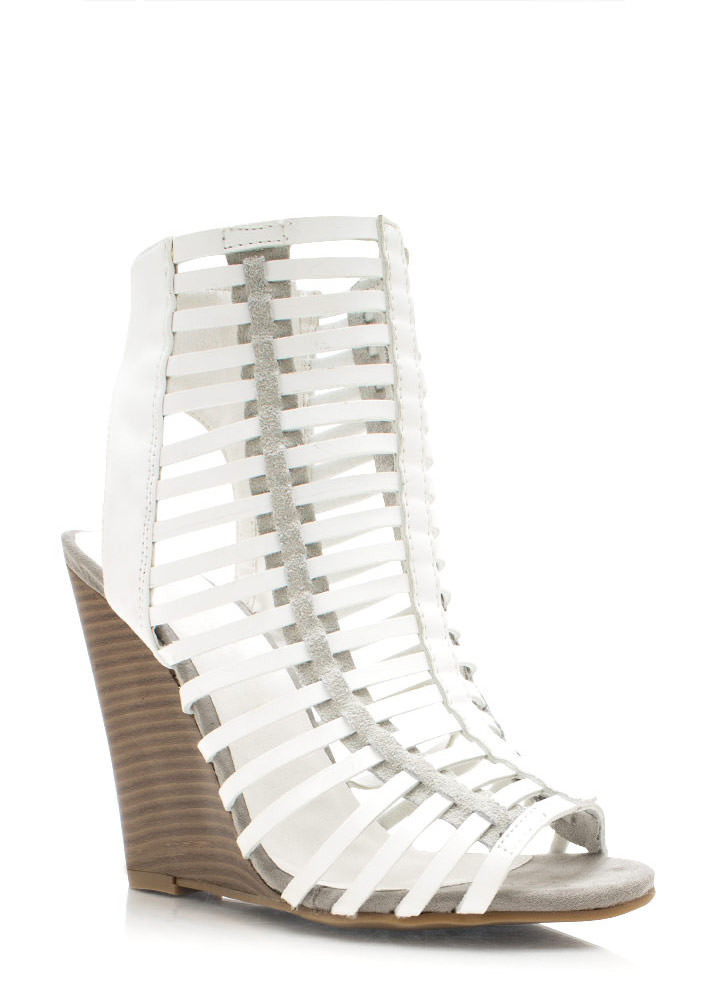 Read Between The Lines Strappy Wedges WHITE
