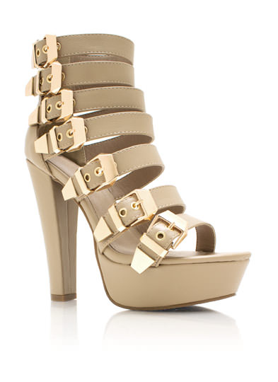 7 Minutes In Heaven Strappy Heels NATURAL
