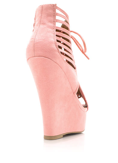 Shutter Up Lace-Up Bootie Wedges SALMON