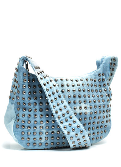 Bleach Stud Denim Messenger Bag LTBLUE