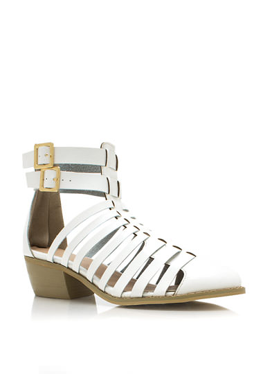 Strappy Cut-Out Ankle Boots WHITE
