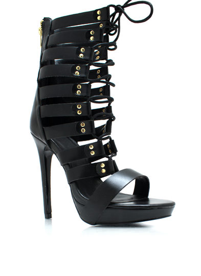 Lace-Up Gladiator Heels BLACK