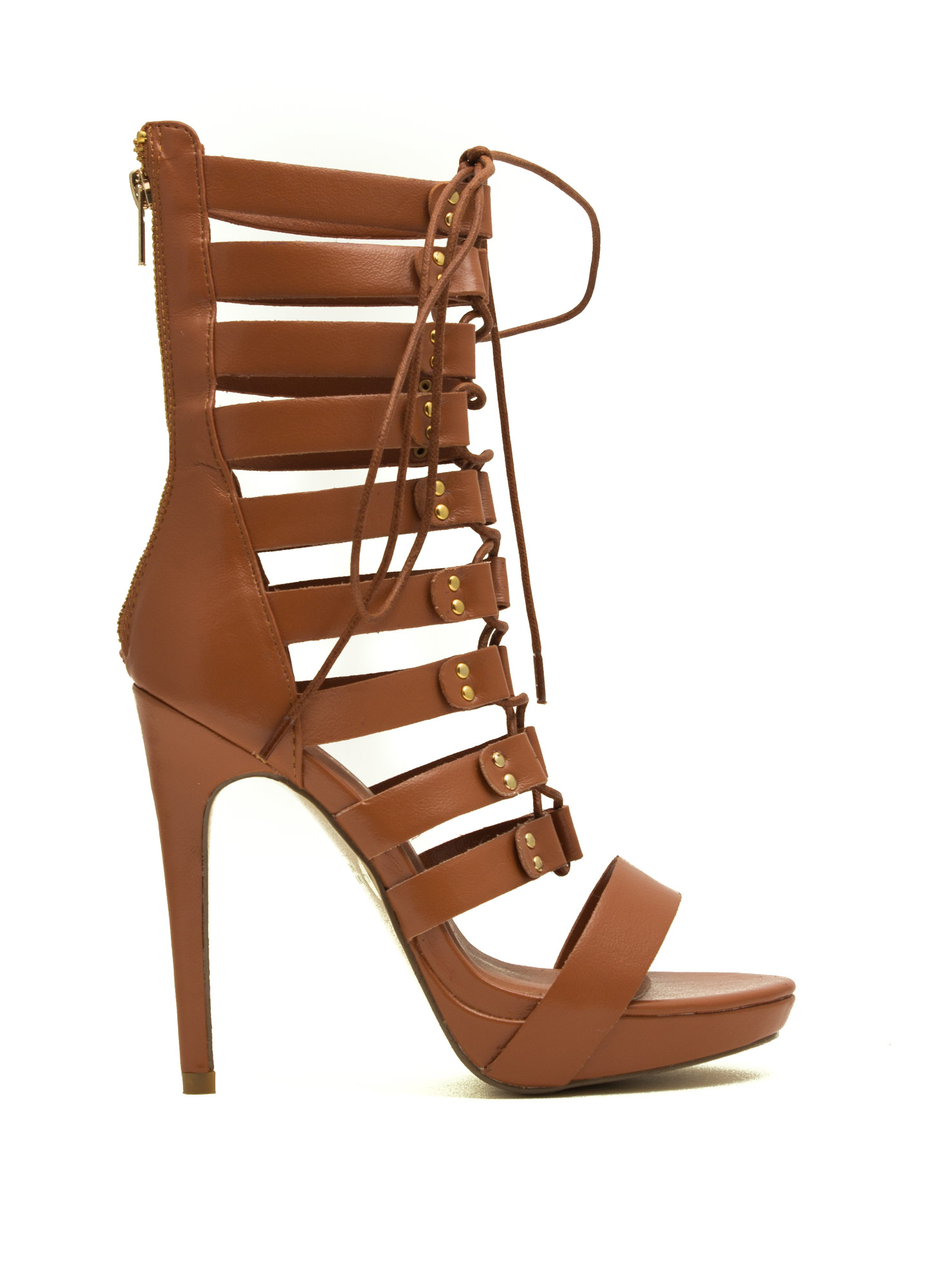 Lace-Up Gladiator Heels TAN