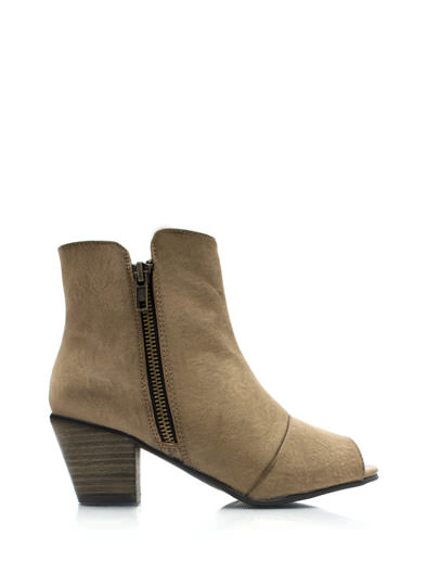 Polished Off Peep-Toe Ankle Boots BEIGE
