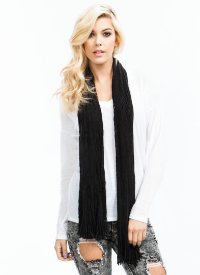 Netted Tube Knit Scarf BLACK
