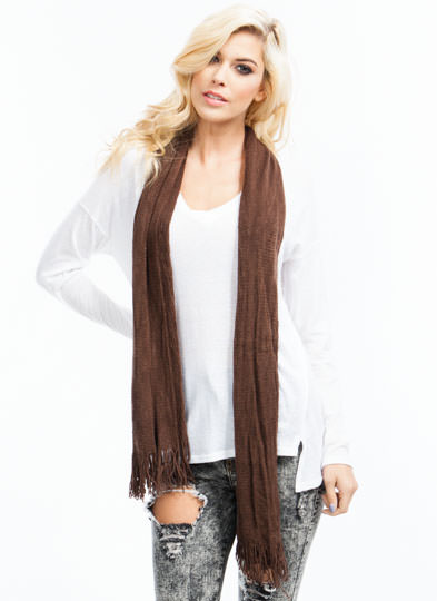 Netted Tube Knit Scarf BROWN