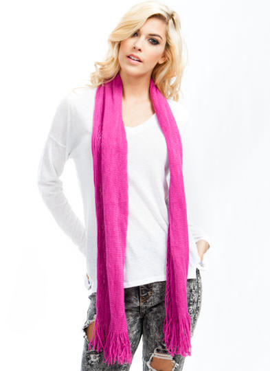 Netted Tube Knit Scarf FUCHSIA