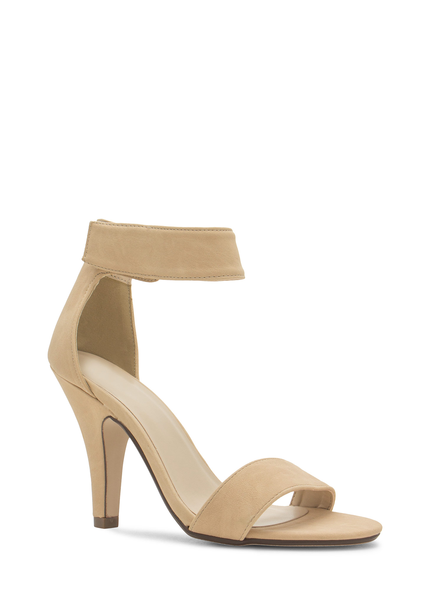 Keep It Simple Faux Nubuck Heels BEIGE