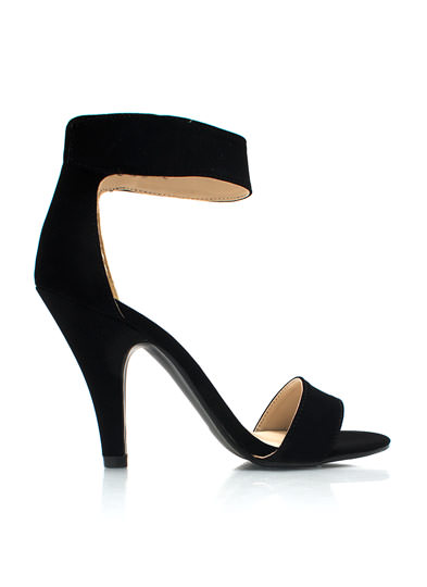 Keep It Simple Faux Nubuck Heels BLACK