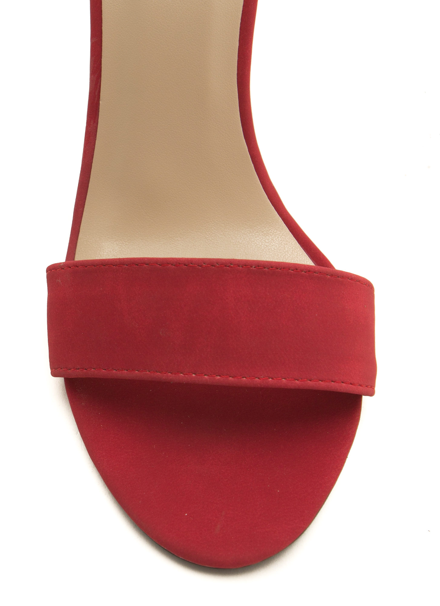 Keep It Simple Faux Nubuck Heels RED