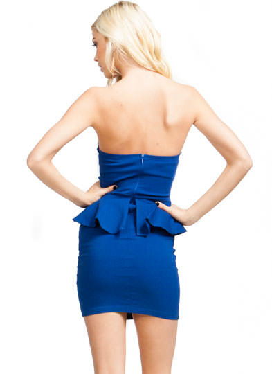 Deep V Strapless Peplum Dress ROYAL