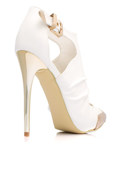 Metal Accent Cut-Out Booties WHITE