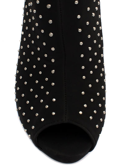 Allover Studded Cut-Out Bootie BLACK