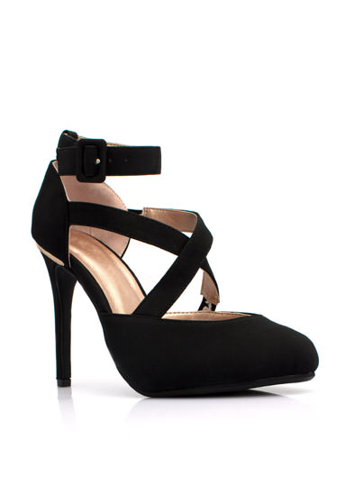 Crisscross Metal Accent Heels BLACK