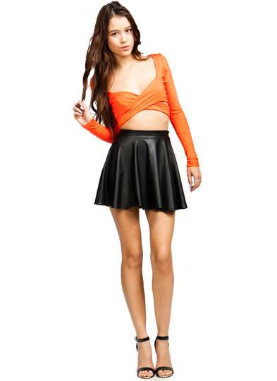 Cross Your Tee Cropped Top ORANGE