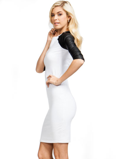 Good Sport Contrast Raglan Dress WHITE