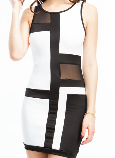 Go To Grid Lengths Mesh Inset Dress WHITEBLACK