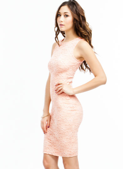 Lacy Days Floral Overlay Midi Dress PEACH