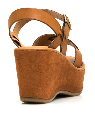 Crossroad Platform Wedges CHESTNUT