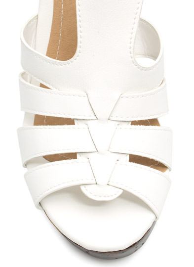 Wood You Rather Strappy Heels WHITE