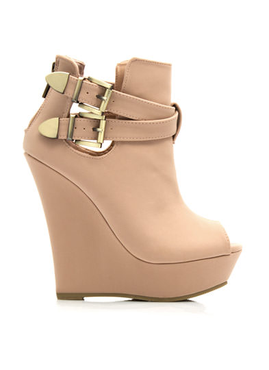 Double Buckle Wedge Booties ROSE