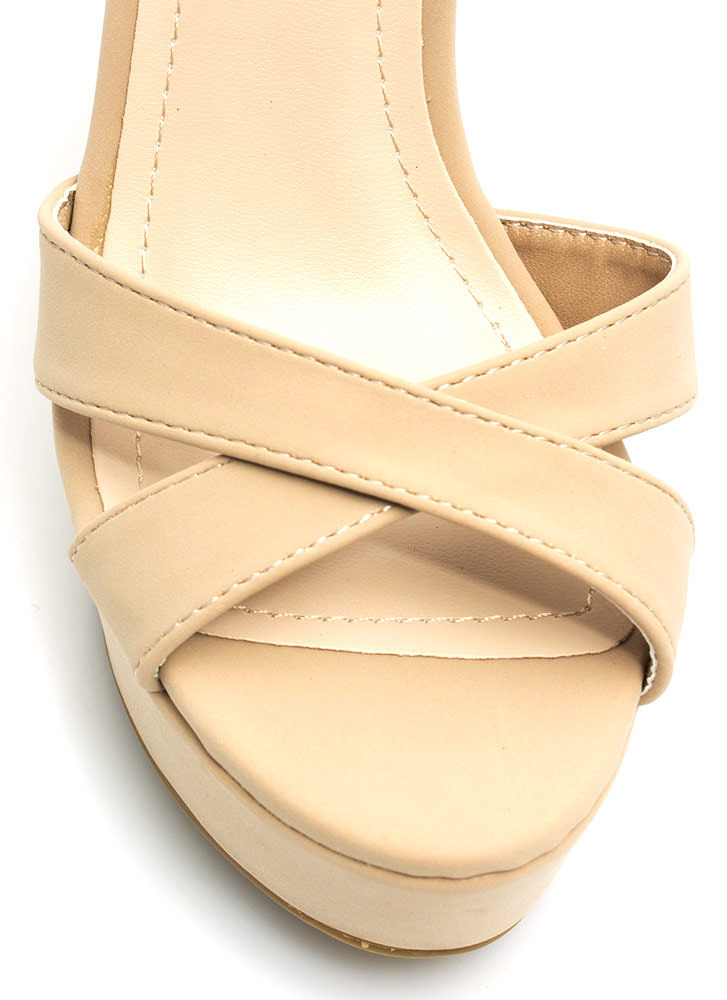 Let's Get Basic Crisscross Wedges NUDE