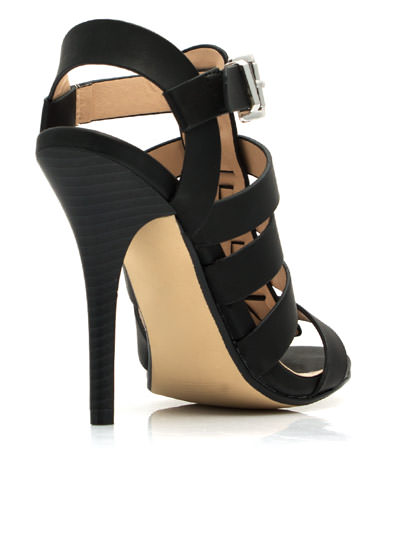 Just Strap It Open-Toe Heels BLACK