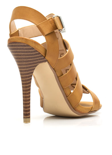 Just Strap It Open-Toe Heels TAN