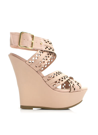Perforated Crisscross Strap Wedges ROSE
