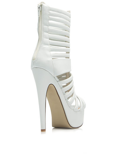 Shutter Speed Strappy Platform Heels WHITE
