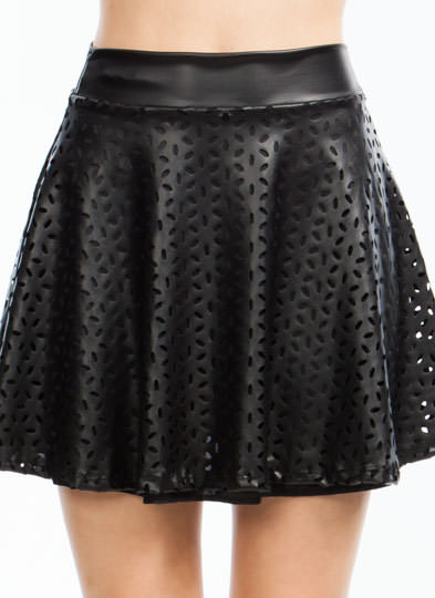 Petal Perfection Skater Skirt BLACK