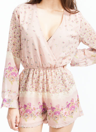 On Floral Grounds Chiffon Romper DUSTYPINK